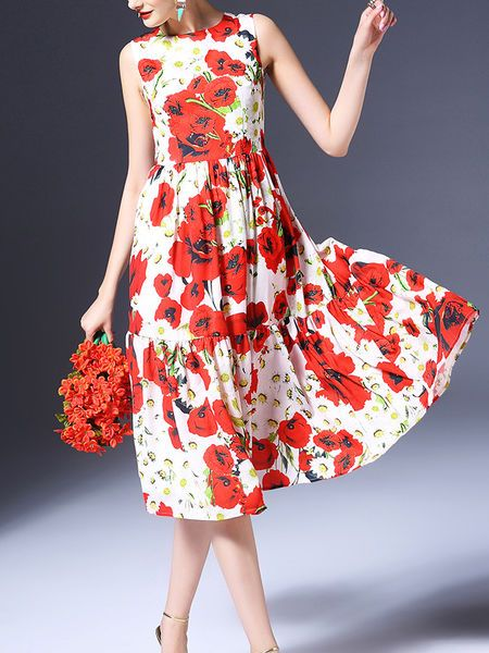 Paneled Floral-print Midi Dress