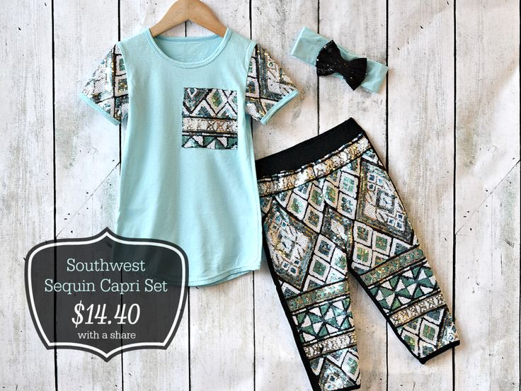 Southwest Sequin Capri Set:  an adorable outfit for your little girl!  68% off for one week only!