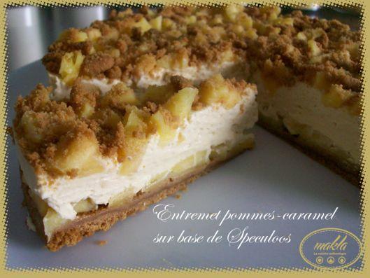 Gâteau mousse mascarpone , speculoos ,caramel beurre salé , pommes . Fait le 27/09/2013