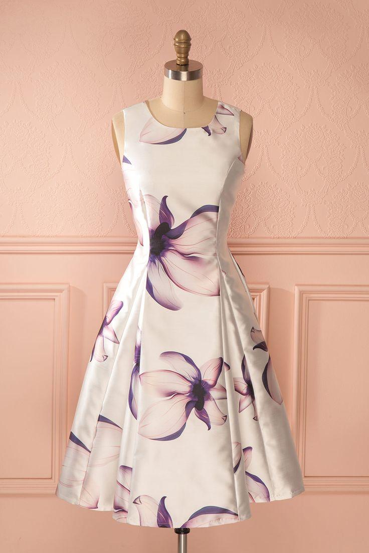 Robe trapèze mi-longue blanc imprimé fleurs lilas - White pink flower print a-line mid-length dress