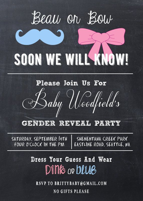 Gender Reveal Party Invitation Beau or Bow // by TheBridalPropShop