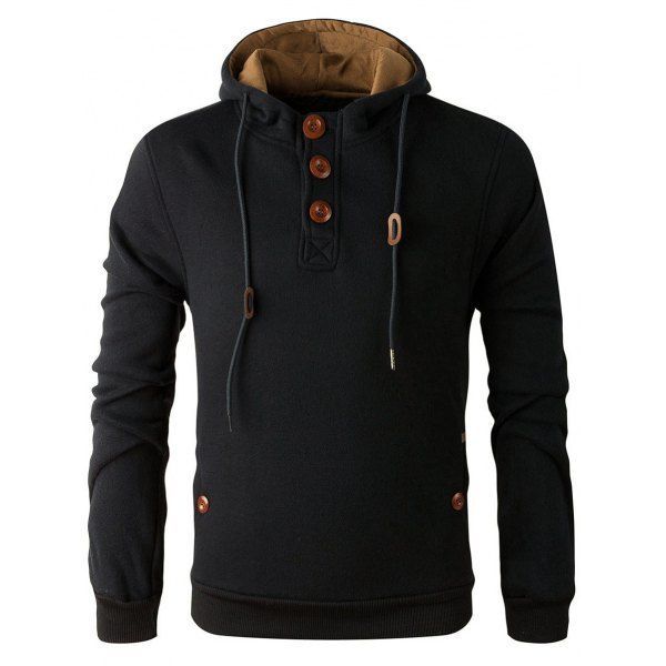 $19.72 Elbow Patch Long Sleeve Drawstring Pullover Hoodie - Black