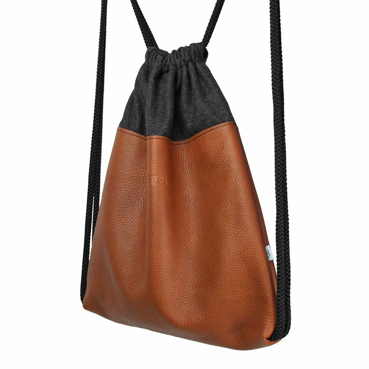 Natural leather backpack, 32 x 39 cm, brown, black #backpack #brown #plecak #worek