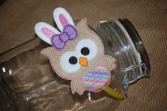 Owl Easter Bunny Embroidered Burlap Headband by CraftItUpByAmeela