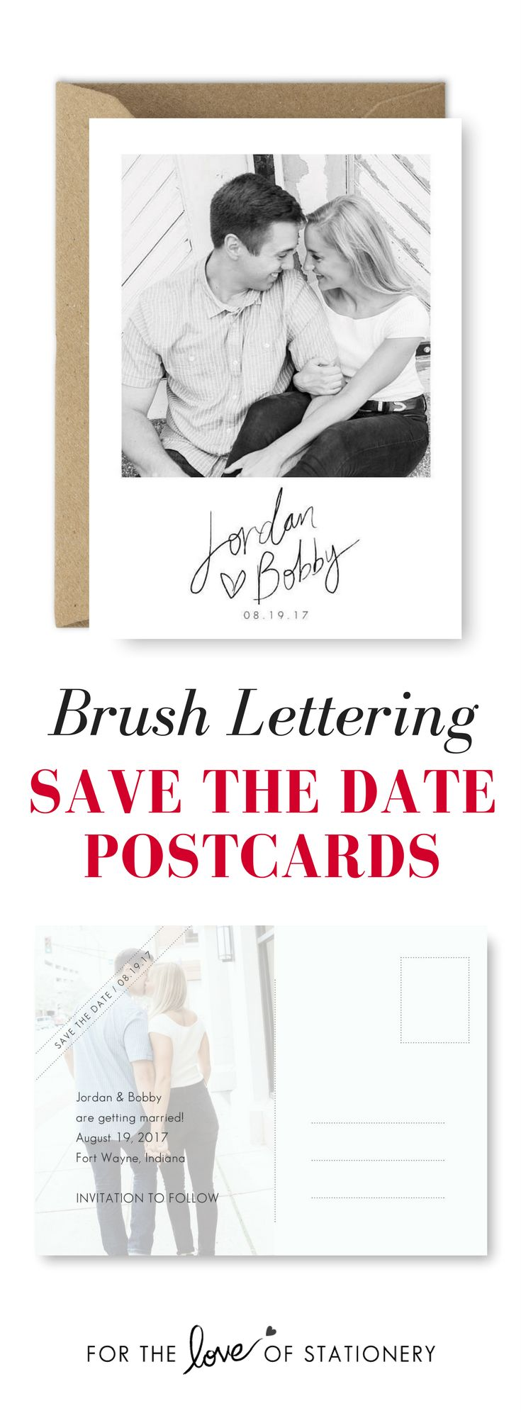 Brush Lettering Save the Date Postcards | Photo Save the Date Cards | GEM Photography | For the Love of Stationery