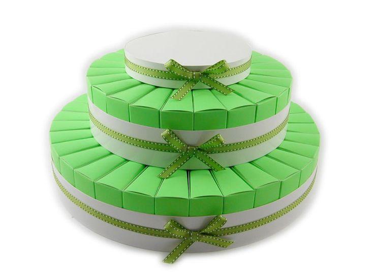 Torta bomboniera 55 fette colore verdolino confezionatura fai da te.