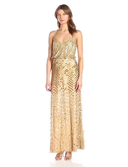 0fec0fb8a02 Adrianna Papell Women s Long Beaded Blouson Gown With Spaghetti Straps