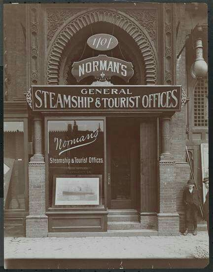 1902.  1404 Broadway.  Broadway and 39th St. Norman's Steamship and Tourist Office. Brown Brothers MCNY.