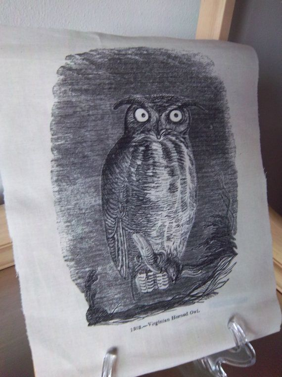 uil fabric paneel primitieve quilt vierkante vogel patches