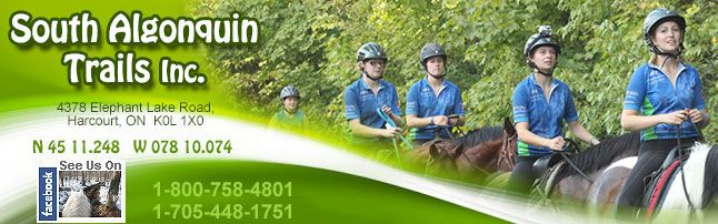 South Algonquin Trails Inc.  Haliburton, Bancroft Horseback Riding & An Algonquin Park Trail Riding Stable South Algonquin Trails Equestrian Outfitters.