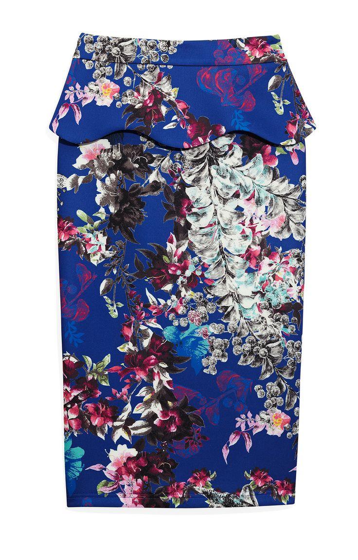 The digital print on this flirty peplum skirt is a modern take on floral.