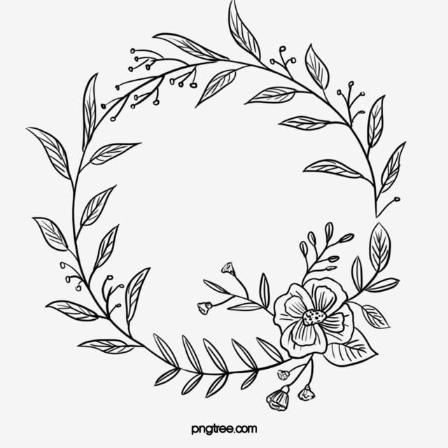 Black Hand Painted Line Side Wedding Decoration With Enclosed Round Symbolic Flower Border Border Clipart Marry Wedding Decorations Png Transparent Clipart Flower Border Wreath Drawing How To Draw Hands