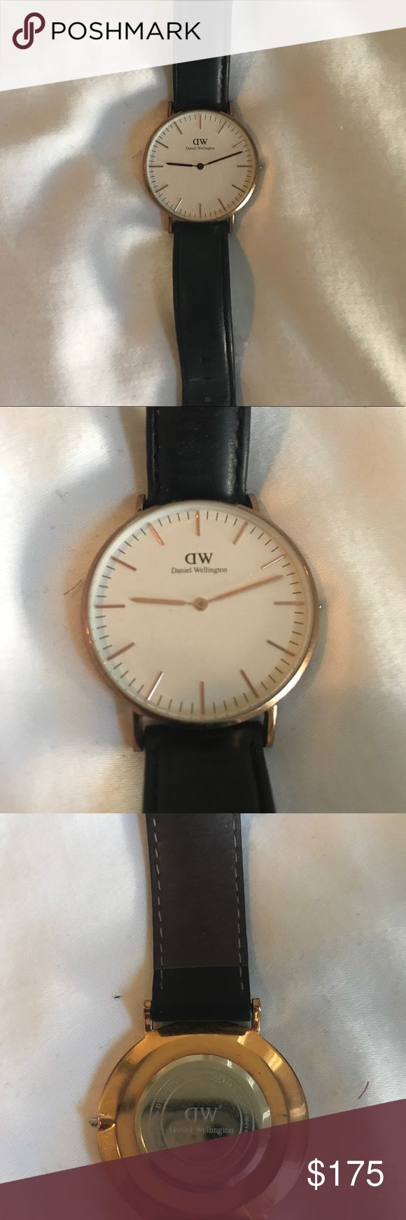 Black Daniel Wellington Sheffield Watch Selling this classic Daniel Wellington watch. Black leather arm band and gold details. Slightly worn, only needs a new battery! Daniel Wellington Accessories Watches