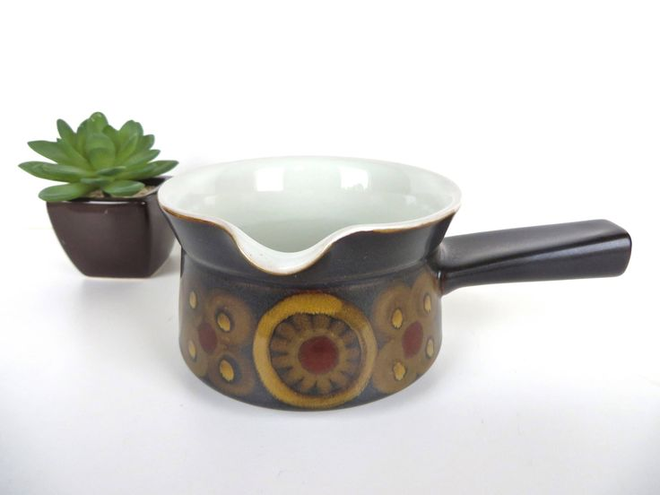 Denby Arabesque Gravy Boat, Gil Pemberton Stoneware Sauce Pot For Denby, Rustic Modern Stoneware Serving, Mid Century Modern Butter Warmer by HerVintageCrush on Etsy