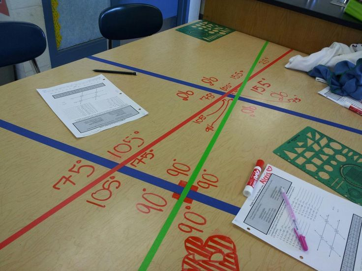 A great way to practice measuring angles! Tape up desks with different colored tape and let students use marker on the table to write in the degrees! Students LOVE writing on the tables! (picture only)