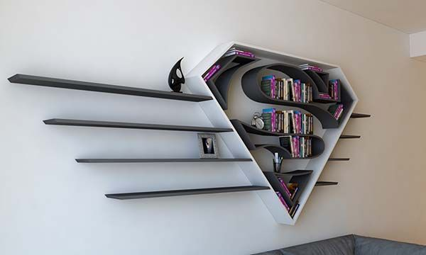 We have introduced several handcrafted Batman themed wall shelves, but if you're a faithful fan of Superman, the concept superman logo inspired bookshelf should
