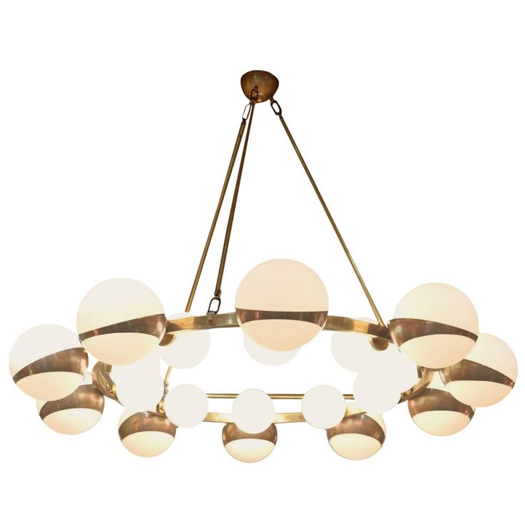 Large 1950s Maison Stilnovo Chandelier | From a unique collection of antique and modern chandeliers and pendants  at https://www.1stdibs.com/furniture/lighting/chandeliers-pendant-lights/