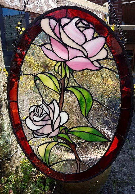 Tiffany glas in lood raamhanger van roze rozen met iriserend