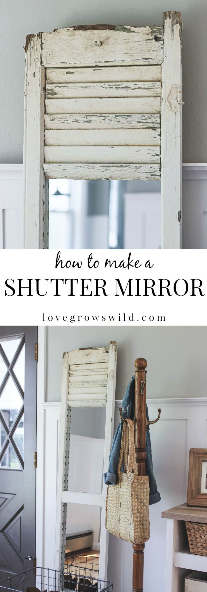 Learn how to take an old shutter and turn it into a beautiful mirror with tons of farmhouse charm! | LoveGrowsWild.com