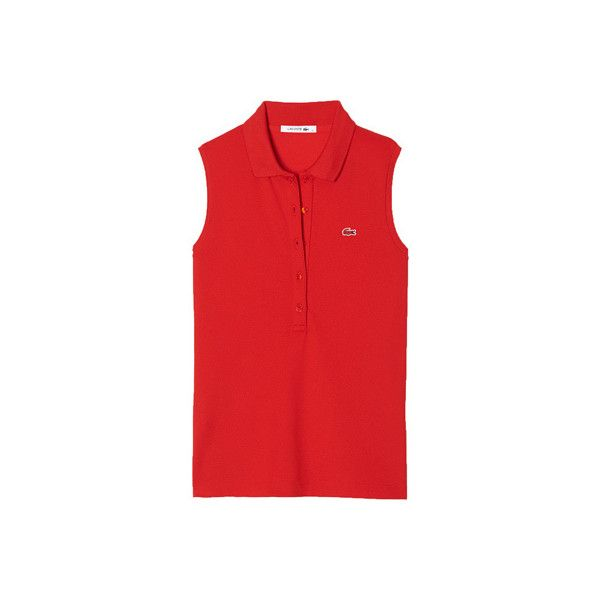 Women's Lacoste Sleeveless Slim Fit Stretch Pique Polo - Red... (€72) ❤ liked on Polyvore featuring tops, red, layered tops, sleeveless polo shirts, stretch tops, red polo shirt and lacoste