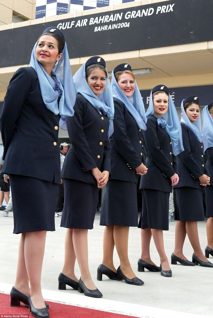 stewardess jav Because of religious reasons air hostesses of Bahraini airline Gulf Air  wear knee-long skirts
