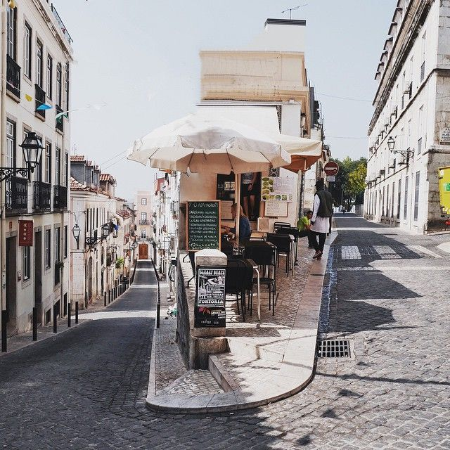 The winding streets of Lisbon, Portugal