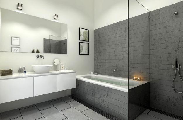 Gain d'espace - vitre contre la baignoire