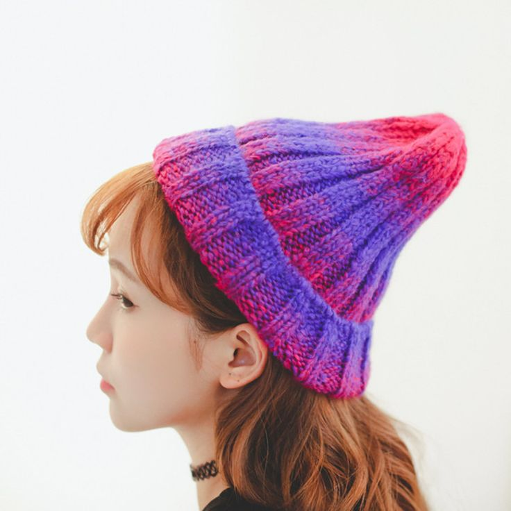 Новинка симпатичные корейские женщины шерсть вязаная шапка цвет шляпа личности модные мужчины и женщины вязаная шапка