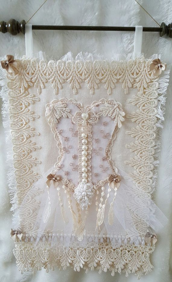 Lace collage , shabby chic , shabby chic wall hanging , lace wall hanging…