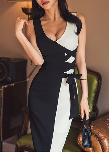 Plunging V Neck Color Block Bow Embellished White and Black Party Sheath Midi Dress, this dress will shake up your wardrobe, at rosewe.com, don't miss.