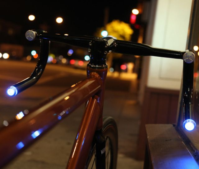 Helios Smart Bike Handlebars - $279.  - A powerful LED headlight comparable to a car headlight. - Bluetooth 4.0 connects your handlebars to your smartphone enabling a variety of smart features. - GPS Tracker enables you to track your bike from anywhere in the world.