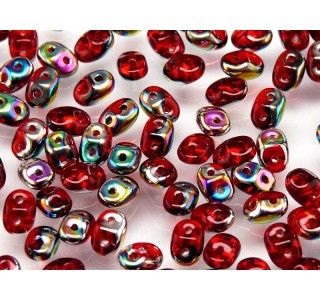 20gr Czech Two-Hole Seed Beads SuperDuo 2.5x5mm Ruby Sliperit
