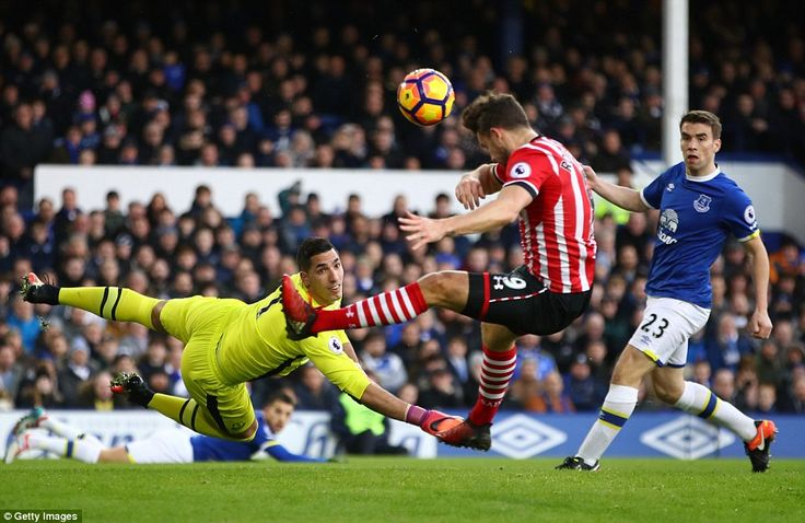 Everton goalkeeper Joel Robles looks on despairingly as Jay Rodriguez tries to direct his header goalwards