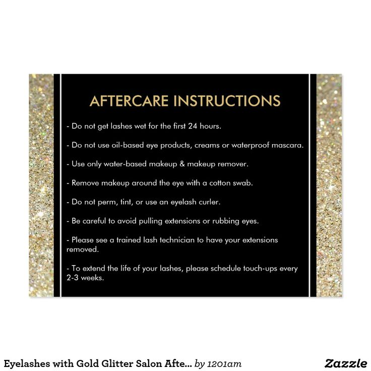 Customizable Lash Extensions Salon Aftercare Care Card