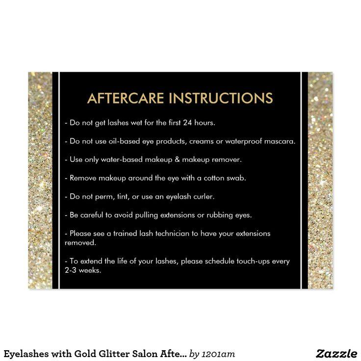 Customizable Lash Extensions Salon Aftercare Care Card