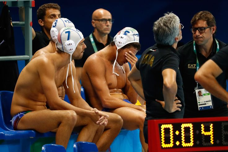 Niccolo Gitto, Alessandro Velotto and Michael Alexandre Bodegas of Italy look dejected after losing to Serbia in the Men's Water Polo Semi Final match between Italy and Serbia at the Olympic Aquatics Centre on day 13 of the 2016 Rio Olympic Games on on August 18, 2016 in Rio de Janeiro, Brazil.