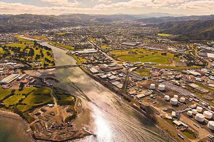Petone, Left, Lower Hutt, right,   see more at New Zealand Journeys app for iPad www.gopix.co.nz