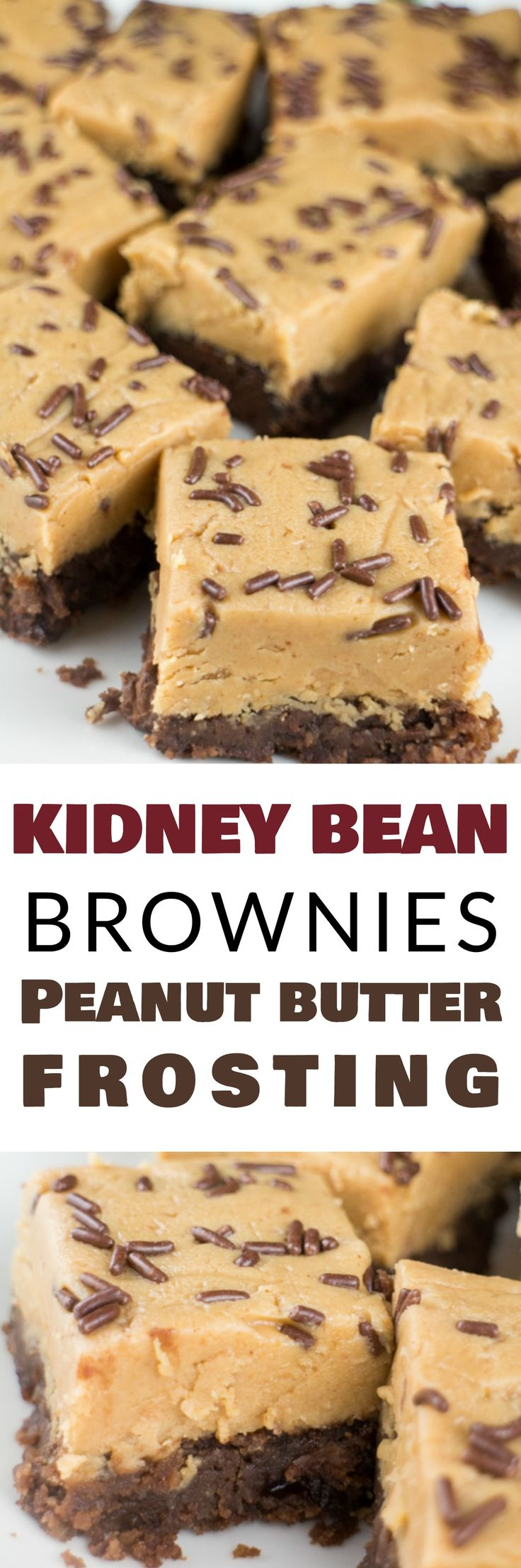 DELICIOUS CHOCOLATE Brownies made with KIDNEY BEANS! This healthy easy recipe makes brownies with kidney beans instead of butter and oil! They are topped with the BEST peanut butter frosting! Easy to make them completely gluten free and vegan too!