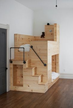 Cool bunk beds-I like the way they did the railing may need something like this for Zack's loft.