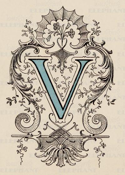 Victorian V-Art Print | Vintage Typography Art Prints