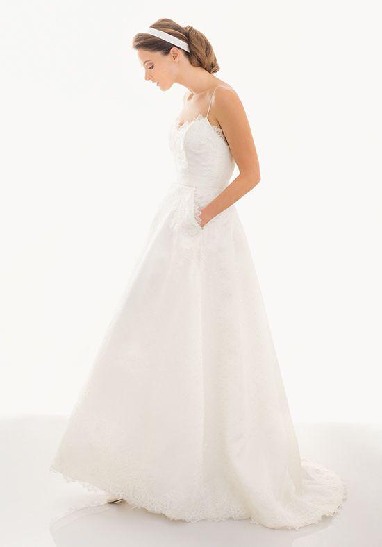 Dotted Silk Organza A-line Dress with Alencon Trim | Judd Waddell: Macie | http://knot.ly/6494BQHA4