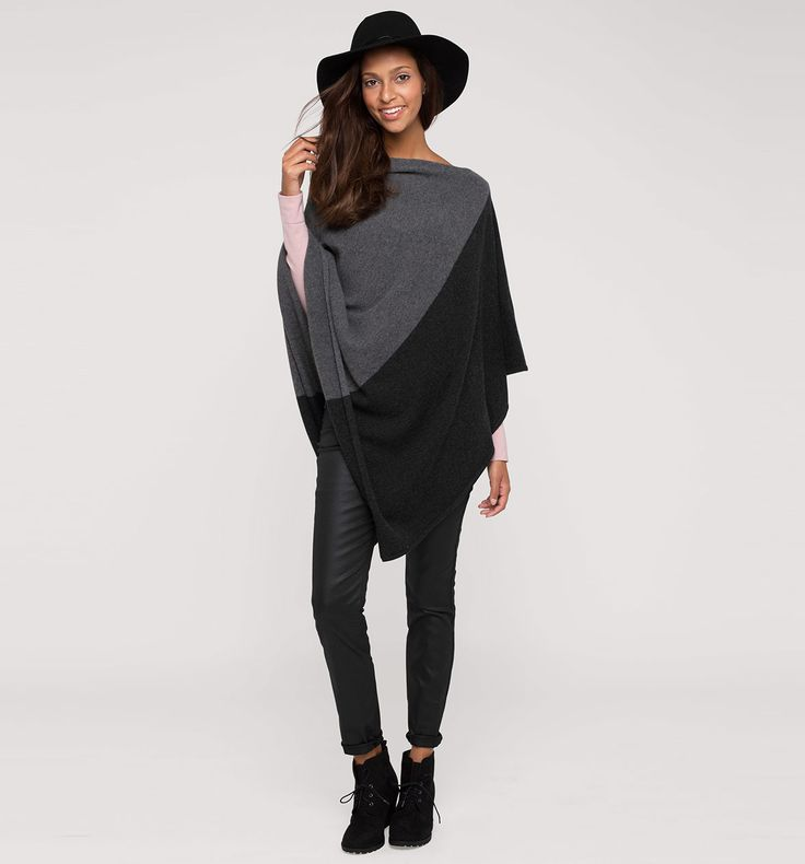 Frontimage view Poncho de cachemir in gris jaspeado 80€