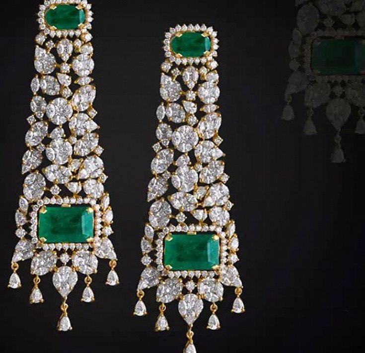 Emerald and diamond danglers