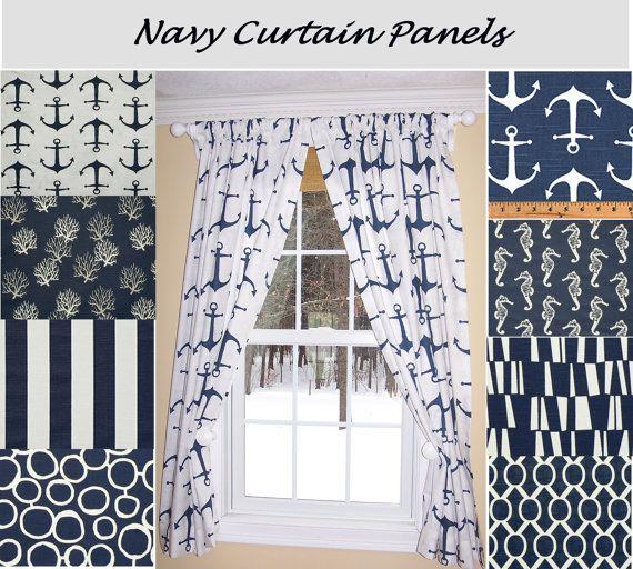 Nautical Curtains,Navy Curtains,Blue Curtains, Sailing, Ocean ,Pair Drapery…