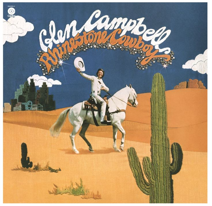 "Throughout the album, #RhinestoneCowboy, there are allusions to #GlenCampbell being a #country boy stranded in the big city, where he's successful but emotionally adrift. This is most evident on the album's two big hits, #CountryBoy (You Got Your Feet in L.A.) and #Rhinestone #Cowboy"" itself, but his yearning is underpinned by sad songs like ""I'd Build a Bridge,"" the despairing ""We're Over,"" and a heartbreaking version of Randy Newman's ""Marie."" #CD"