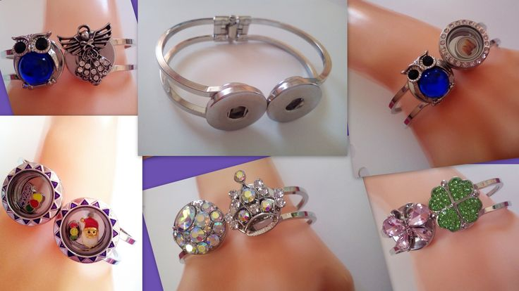 Two 18 mm Snap Button Socket Bangle Bracelet