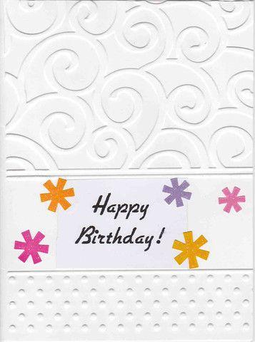 Handmade Embossed White Birthday Card - Borreggine Bargains - 1