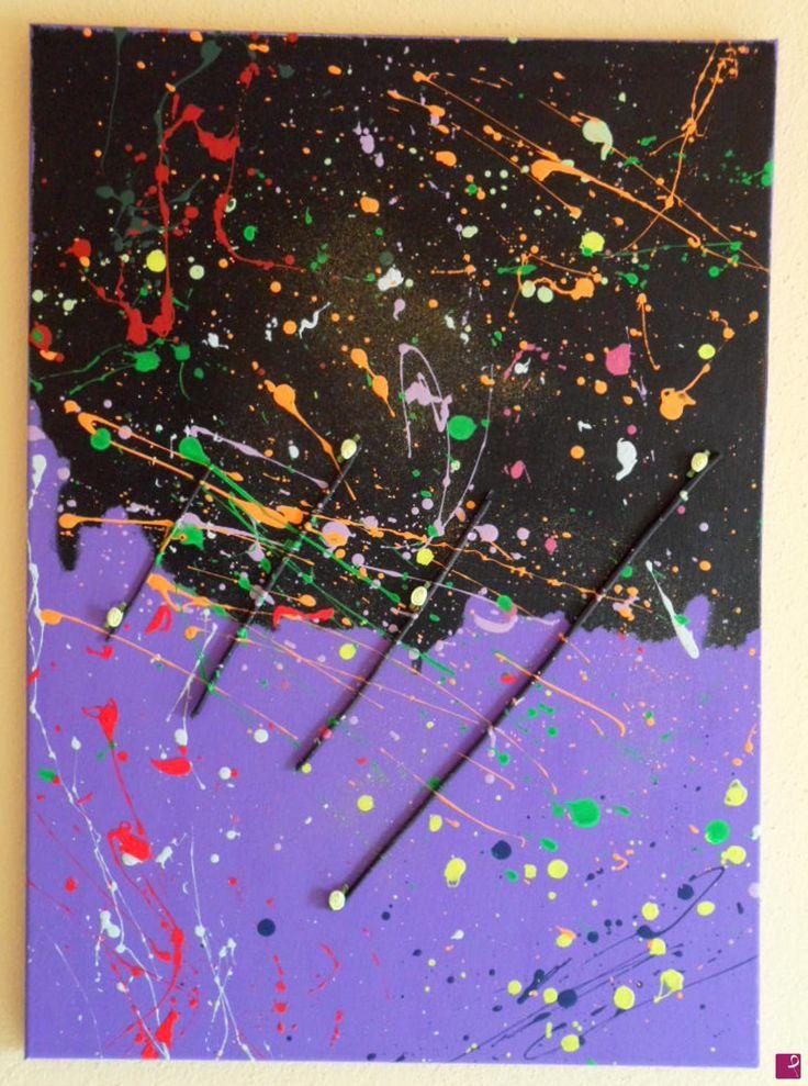 """La leggerezza divisa a metà"" Acrylics, glitter, materials on canvas 50x70 - 2012"