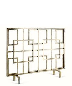"""- Overlapping Squares Fireplace Screen - made of iron, antique silver finish with gold - ships flat, some assembly required - measures 40"""" wide x 31"""" high x 8"""" deep - minimum of 1-2 week delivery time"""