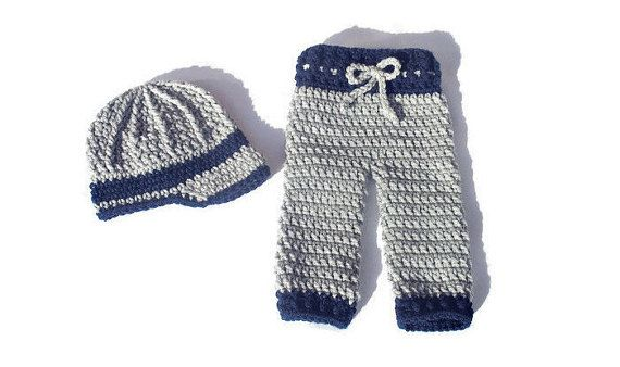 Crochet Newborn Boy Pants and Newsboy Hat by DeesCozyCreations